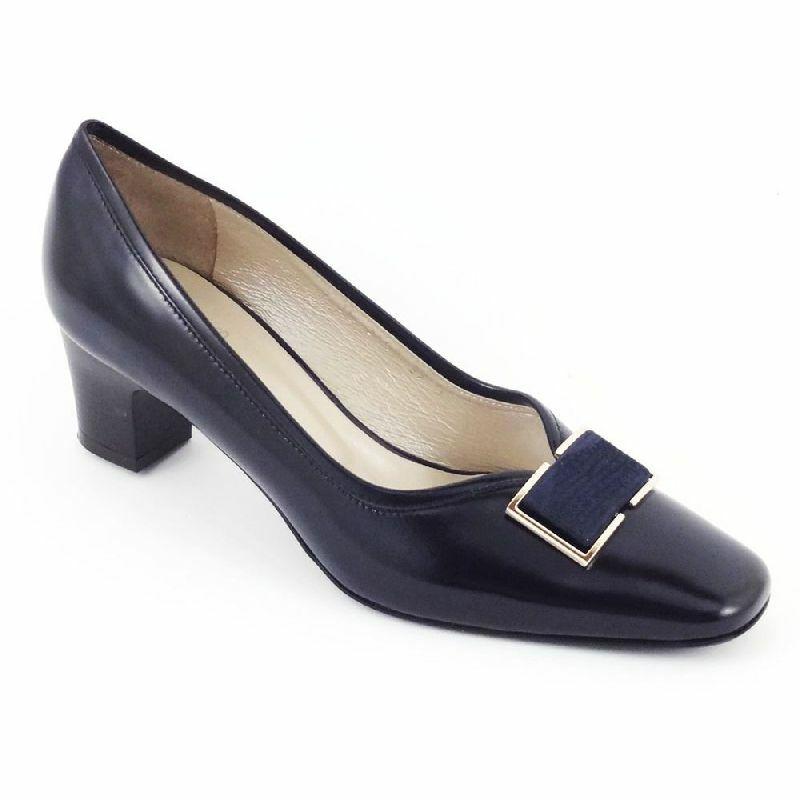 Anis cipő, sötétkék, kis sarkú, bőr, 3457G
