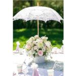 Esküvői csipke ernyő - fehér - Julie - von Lilienfeld