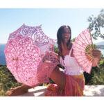 Esküvői csipke ernyő - rózsaszín  - Vivienne - von Lilienfeld