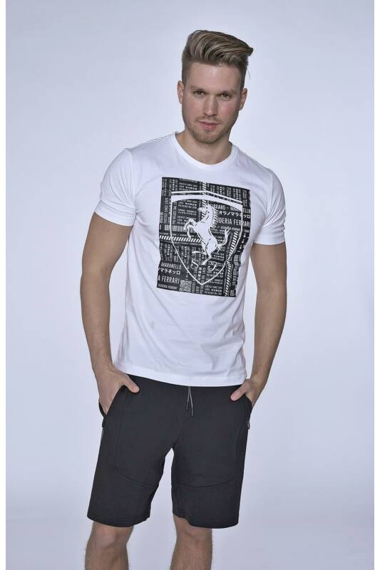Puma Férfi Rövid ujjú T Shirt, Fehér FERRARI BIG SHIELD TEE, 577854_____0003