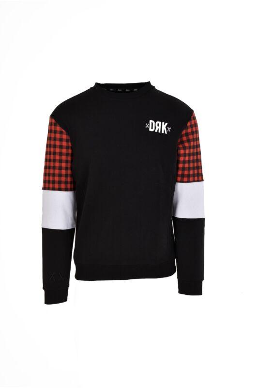 Dorko Férfi Belebújós pulóver, Fekete CREW NECK WITH SLEEVE COLOUR BLOCK MEN, DT1965_____0001