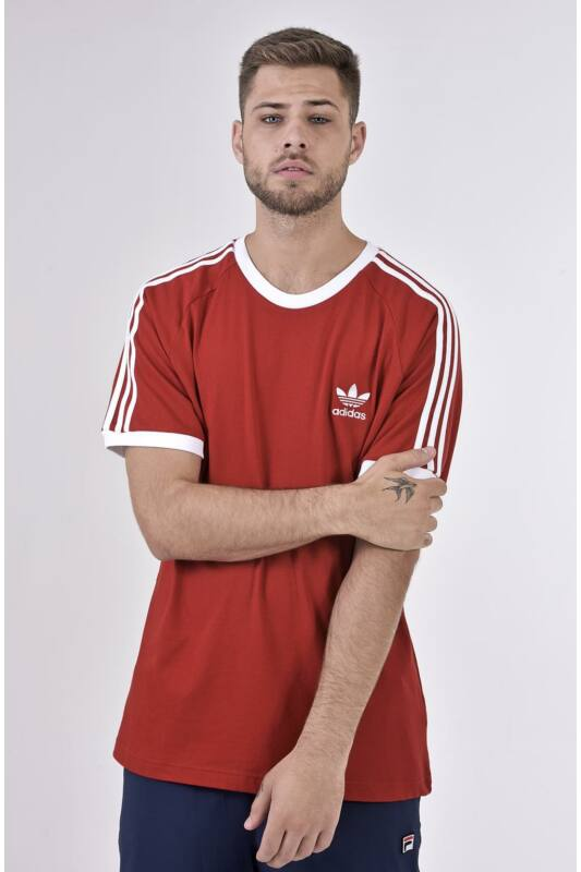 Adidas ORIGINALS Férfi Rövid ujjú T Shirt, Piros 3-STRIPES TEE, DV1565