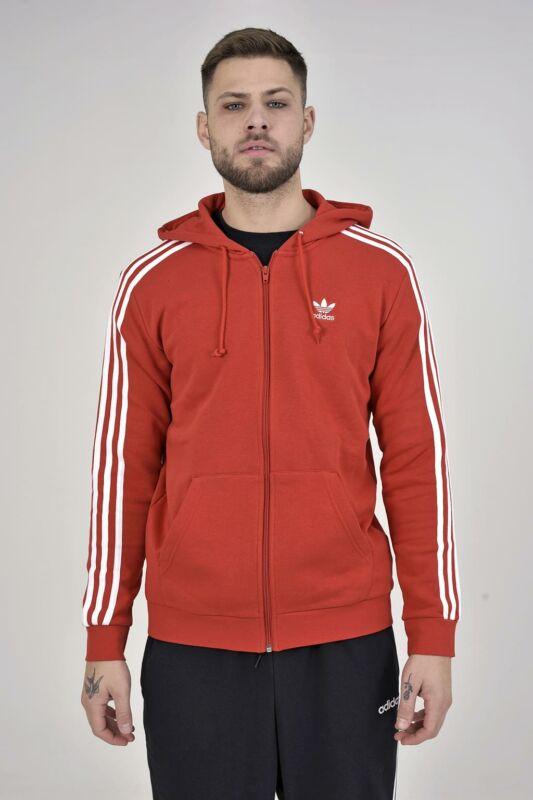 Adidas ORIGINALS Férfi Végigzippes pulóver, Piros 3-STRIPES FZ, ED5970