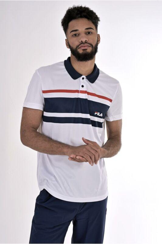 Fila Férfi Rövid ujjú T Shirt, Fehér Polo Tony, FBM191010__0006