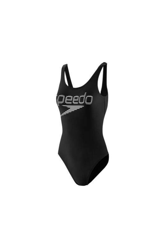 Speedo Női Úszódressz, Fekete Stripe logo deep u-back 1 piece(uk), 8-12369D784-32