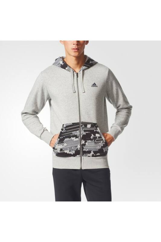 Adidas Férfi Zip pulóver, Szürke Ess aop fz b, BQ9633-XL