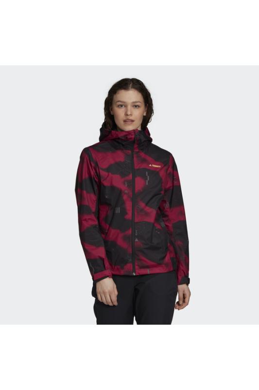 Adidas Női Kabát, dzseki, Fekete W camo rain j, FT9912-XL