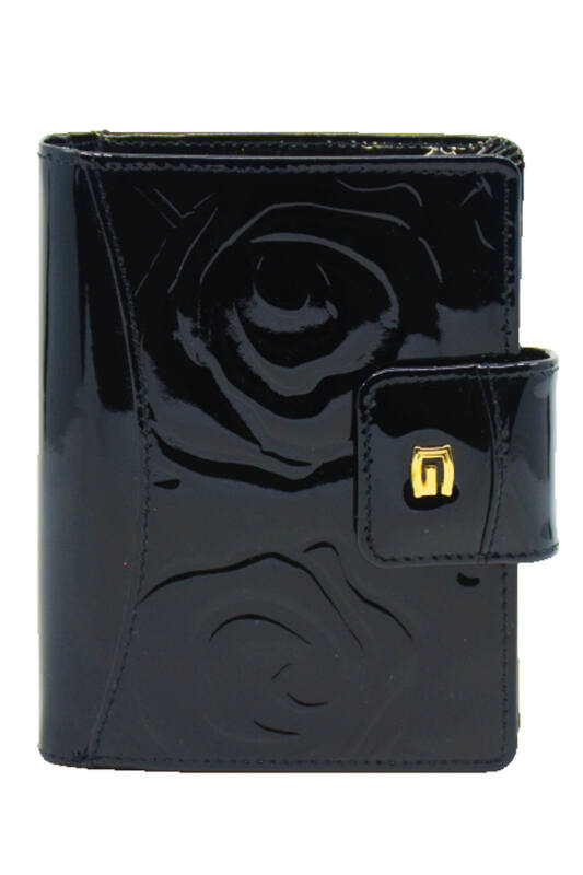 Giudi pénztárca, fekete, nyomott rózsamintás, lakkbőr, pántos 6525-STR-GVL-03