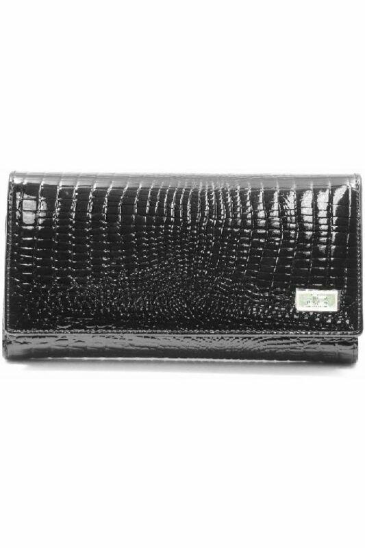 Jacky & Celine pénztárca, fekete, kígyómintás, lakkbőr J11-003