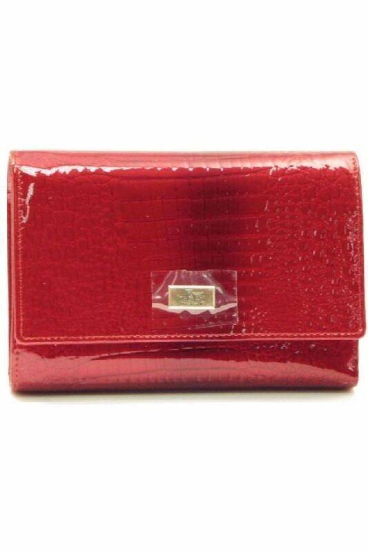 Jacky & Celine pénztárca, piros, kígyómintás, lakkbőr J11-015