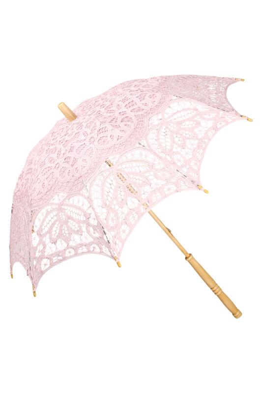 Esküvői csipke ernyő - pasztell rózsaszín  - Vivienne - von Lilienfeld