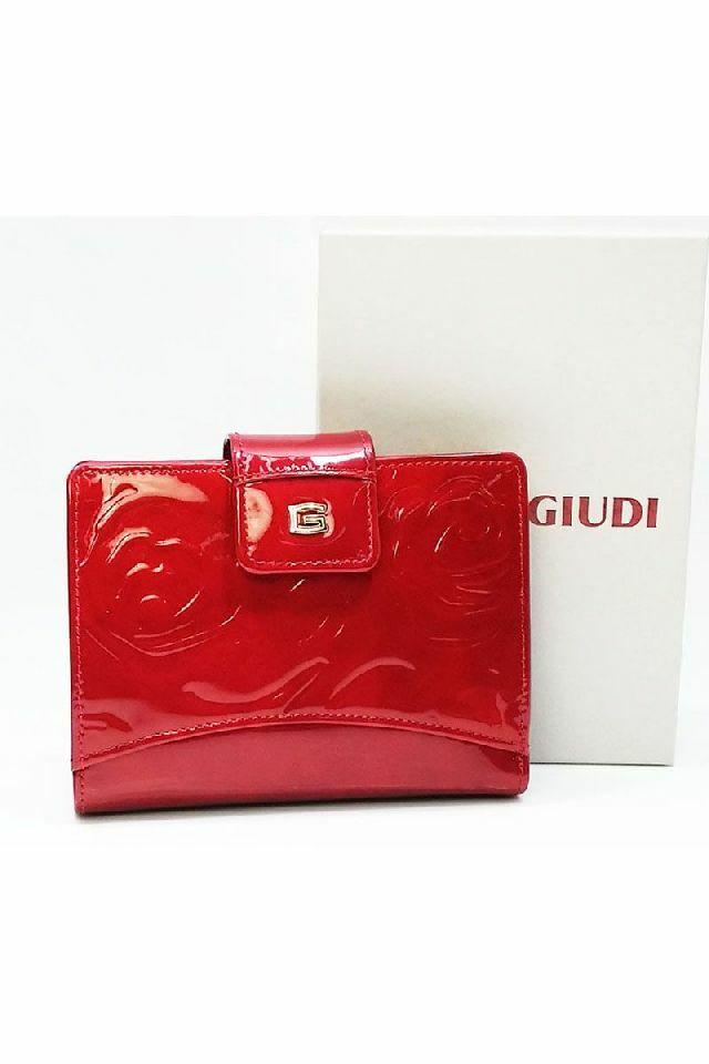 Giudi pénztárca, piros, nyomott rózsamintás, lakkbőr, pántos 6525-STR-GVL-05